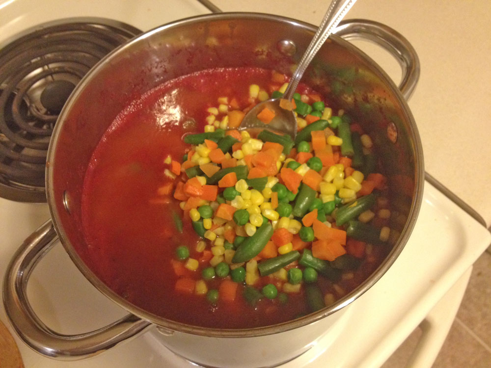 vegetables, soup, tomato, stir