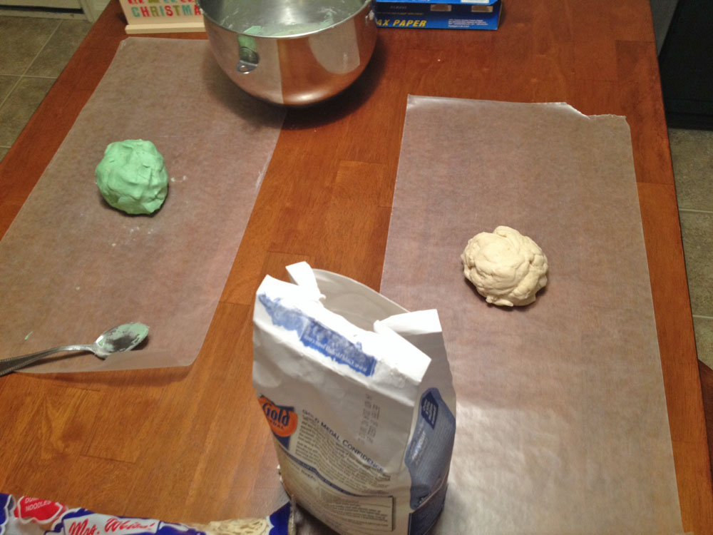 Two sets of dough