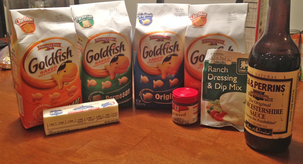 Ingredients for Goldfish Snack Mix