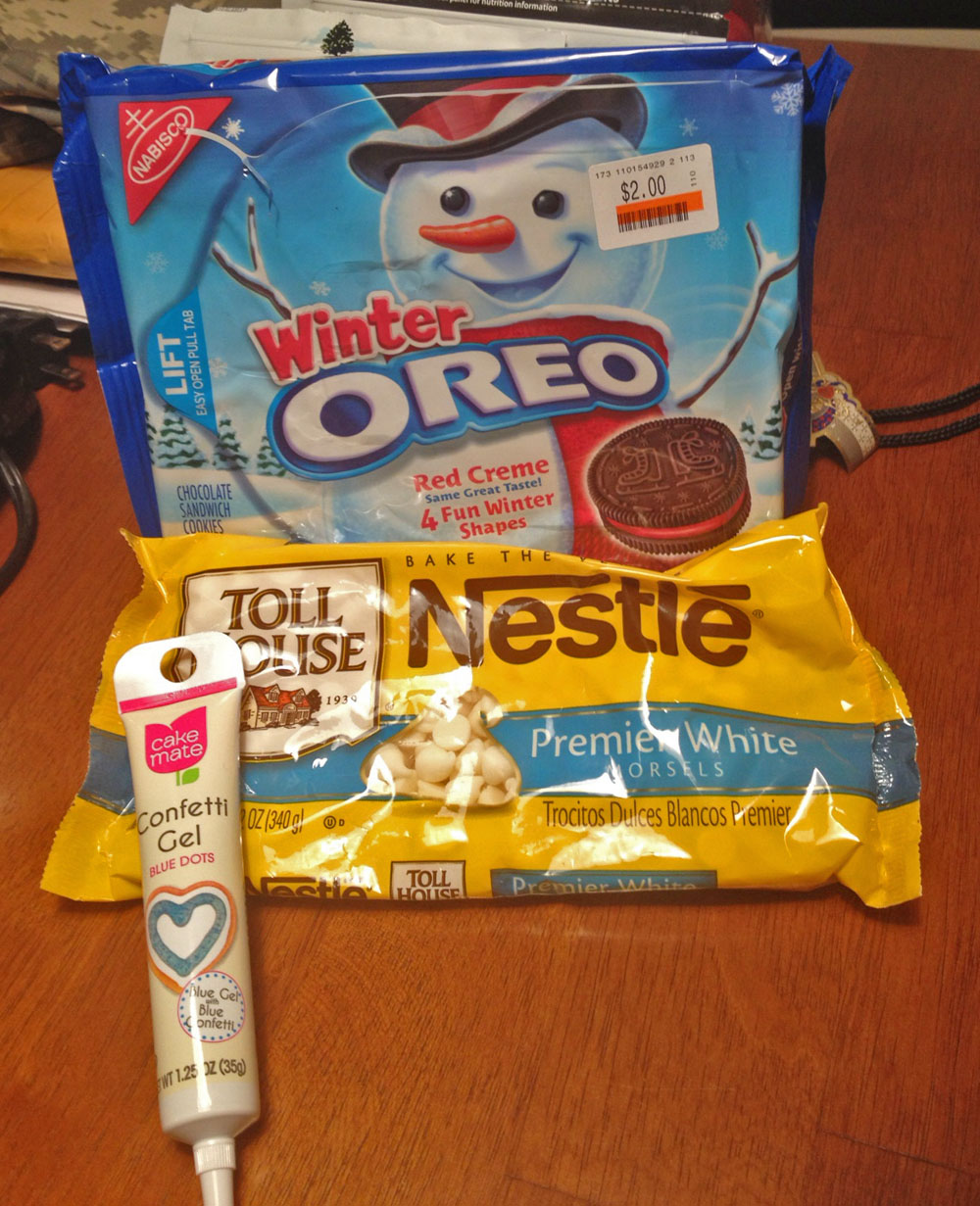Ingredients for Snowflake Oreos